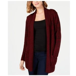 NY COLLECTION Petite Marked Open Front Cardigan